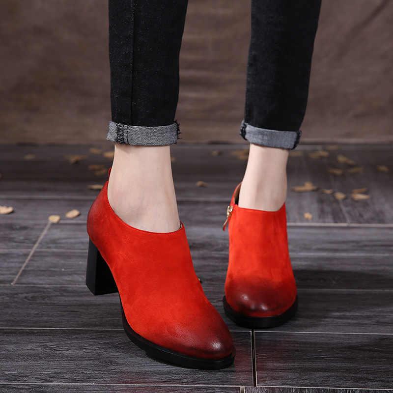 Bahar 2019 Retro Inek Süet Kadın Martin Çizmeler Katı Kalın Yüksek Topuklu Zip Kadın Ayakkabı Kısa Şaft yarım çizmeler