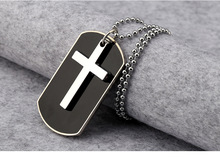 2017 New Fashion Diy Cross Charms Necklaces & Pendants golden 316L Popular Logo Army Card Men Jewelry Necklace For Woman Gifts