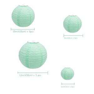 """Image 2 - 20 pçs 6 """" 12"""" mint lanternas de papel verde chinês japonês lampion redondo para festa de casamento lampion de mariage pendurado decoração diy"""