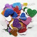 50 PCS (1 saco)/LOT. Mixed tamanho de espuma glitter coração adesivos, Kids toy. Scrapbooking kit. Early educacional DIY. Cheap. ofício do jardim de infância
