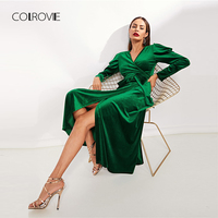 COLROVIE Green Solid V Neck Puff Sleeve Tie Split Velvet Party Dress Women 2018 Autumn Vintage Sexy Maxi Dress Ladies Dresses