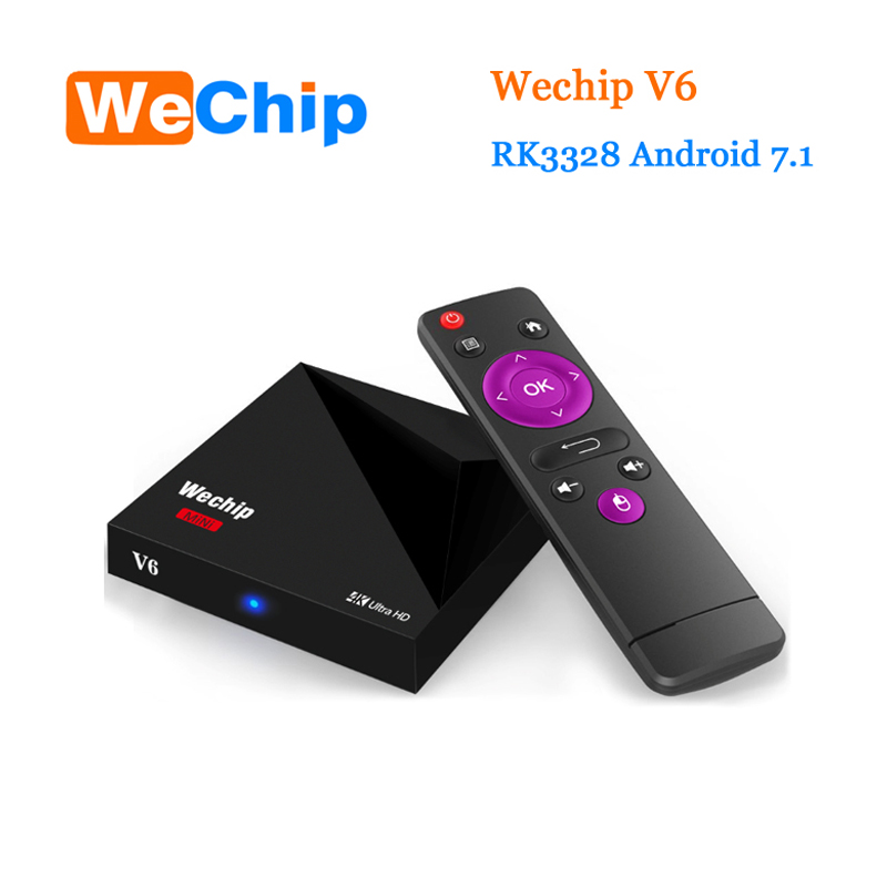 Original Wechip V6 Android 7.1 tv box RK3328 Quad-Cor 1G+8G tv boxes With Wifi Antenna Better than X96 M8S A5X Set Top Box novline autofamily citroen jumper 2015 3