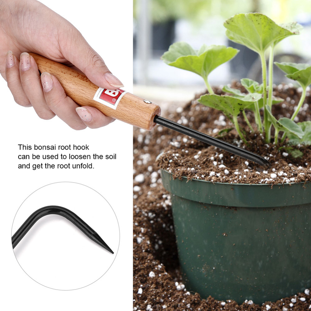 Manganese Steel Bonsai Root Hook w//Comfortable Wooden Handle Garden Tool