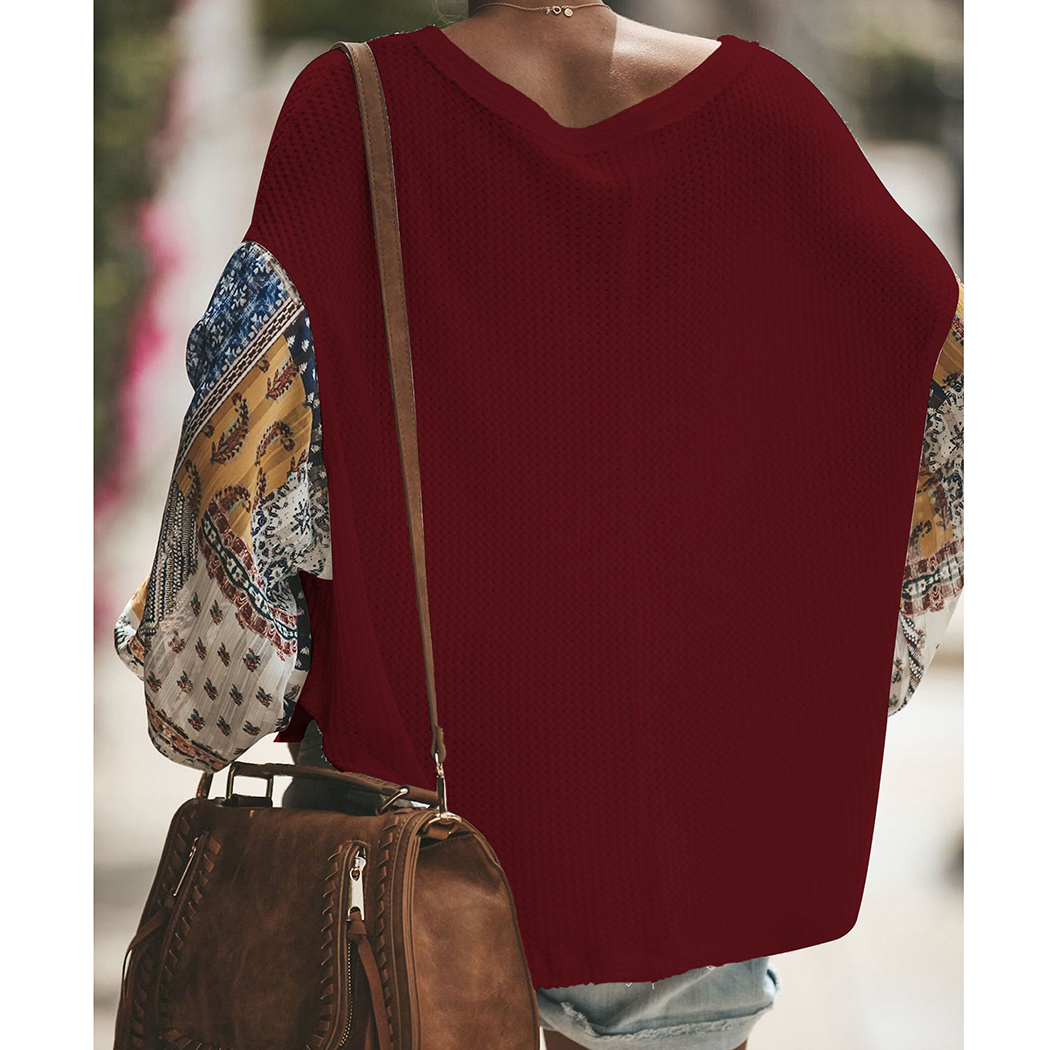 Fashion Women knitting Off Shoulder Patchwork Latern Sleeve Blouse Tops Boho Long Sleeves Casual Beach Loose Shirts Plus Size 5
