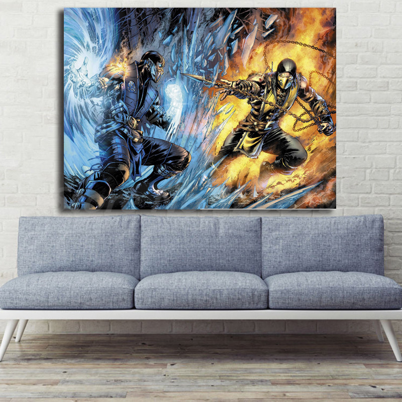 Mortal Kombat Scorpion Vs Sub Zero Wallpaper Hd Art Canvas Poster