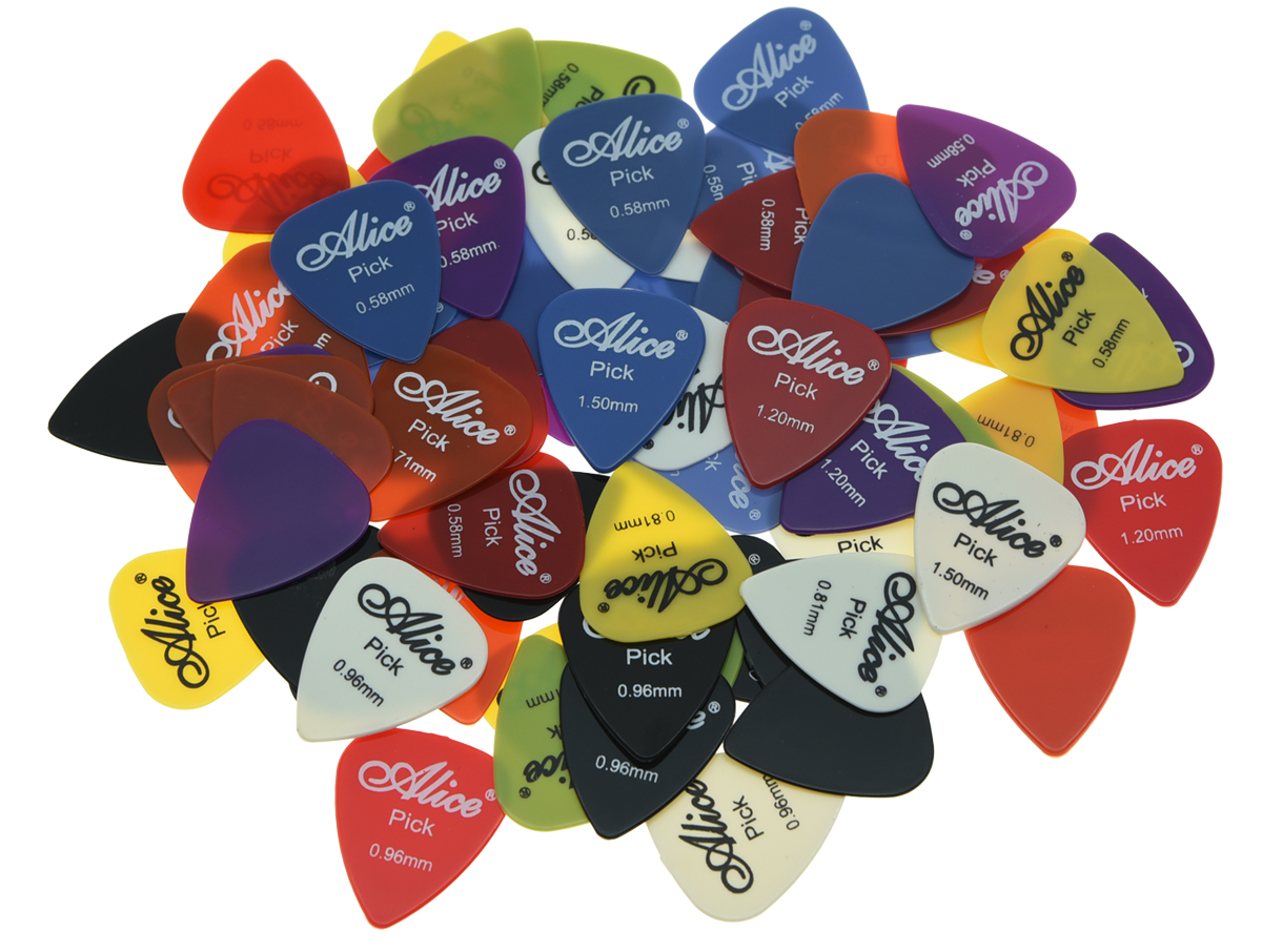 100pcs Alice Smooth Nylon Guitar Bass Picks Assorted Colors 6 Thickness 0.58/0.71/0.81/0.96/1.2/1.5