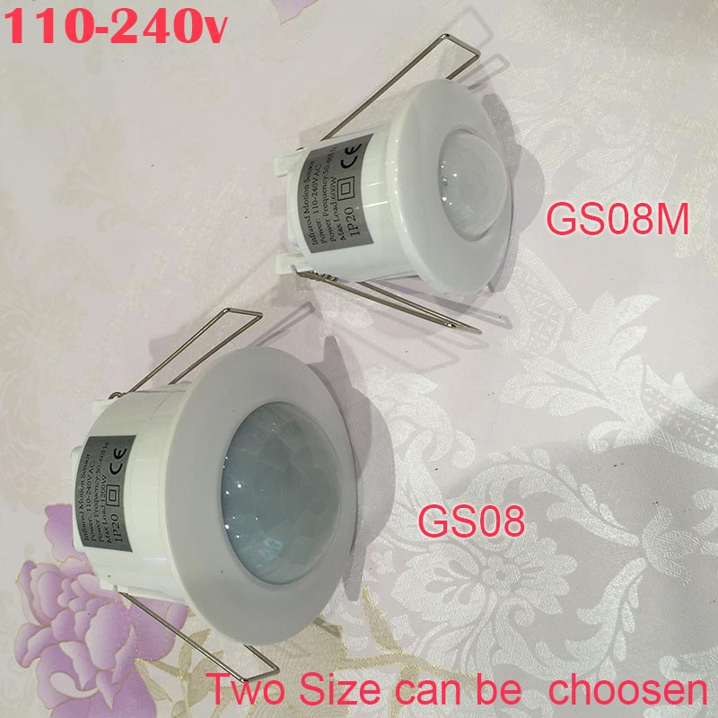 купить New Arrived AC110V-240V 50Hz 360 Degree Mini Recessed PIR Ceiling Occupancy Motion Sensor Detector Switch Two Sizer 1pc по цене 660.03 рублей