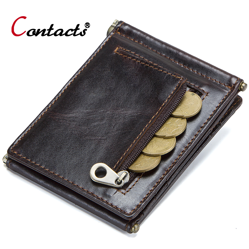 CONTACT'S Men's Short Wallet Genuine Leather Male Wallet Clutch Bag Coin Purse Men's Business Card Holder Wallet Male Money Bag men wallet male cowhide genuine leather purse money clutch card holder coin short crazy horse photo fashion 2017 male wallets