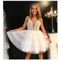 Пикантные Бисер коктейльное Платья для вечеринок 2019 спагетти Иллюзия органза женская блуза с послойным расположением ткани, оборочками и v