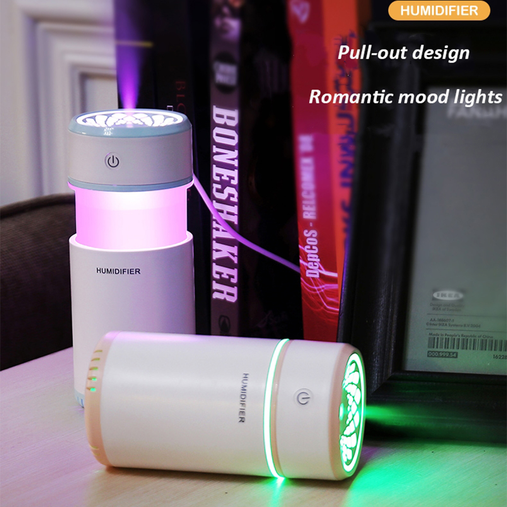 Night Light Lamp with Creative Pull-out Design Air Humidifier with LED Lights Ultrasonic Cool Mist for Car Mini USB Diffuser
