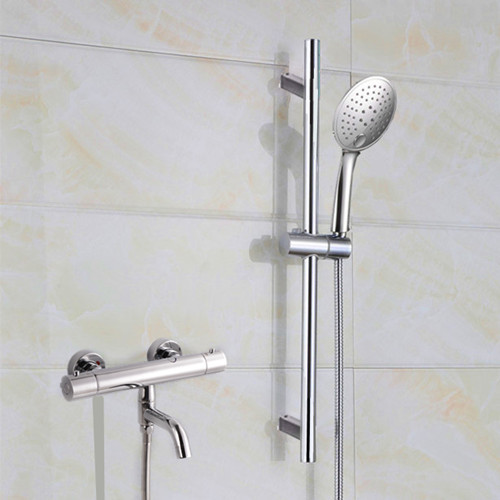 modern hot and cold bathtub faucet wall hanging type simple lifting thermostatic shower   set