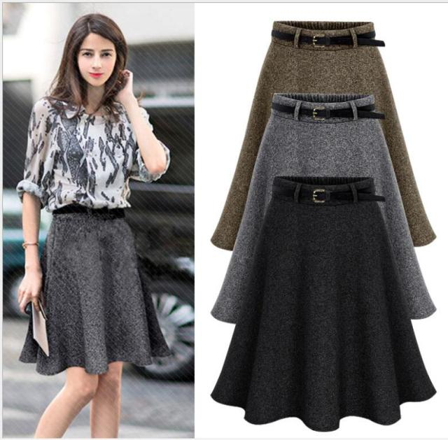 f175eec064 Womens 2017 Spring Plus size Skirt Casual Slim Pleated Skirts Autumn Winter  Skirts For Work Elastic Waist Female Saias Femininas