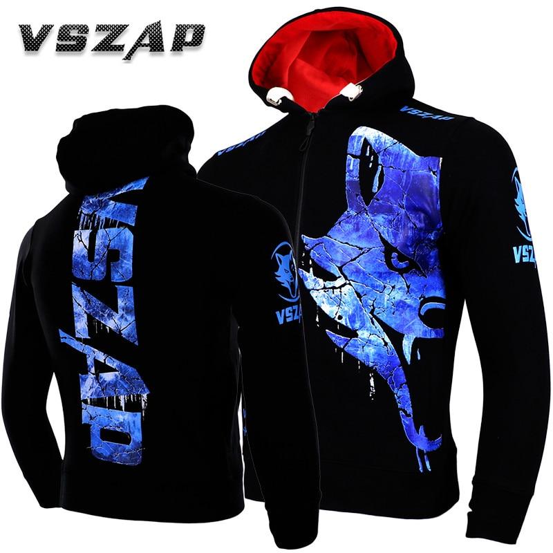 VSZAP Men's Hoodie Jacket MMA Long Sleeve Hooded Sport Sweatshirt Long-sleeved Thickening Fighting Mma Training Taekwondo