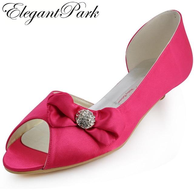 Woman Bridal Wedding Shoes Low Heels Hot Pink CC60 Peep Toe Size 12  Rhinestone Bow Satin