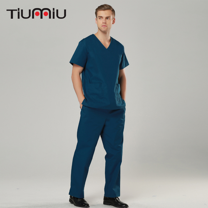 New V-Neck Summer Doctor Nurse Uniforms Hospital Medical Beauty Salon Scrub Set Short Sleeve Men Unisex Surgical Medical Uniform