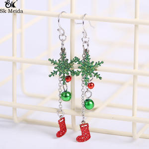 Sk Meida Earrings For Women Red Snowflakes Earrings Female
