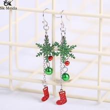 Christmas Earrings For Women Red Christmas Socks Green Snowflakes Pendants Earrings Female Christmas Decorations CH-23