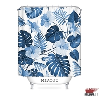 MIAOJI Waterproof Fabric Shower Curtain Tropical Hawaii Plants Green Leaves Monstera Bathroom Screens Curtains Free