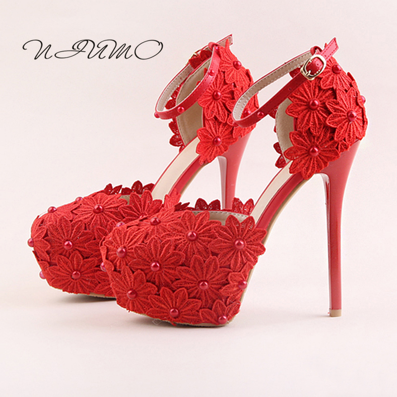 Red lace flower high heel waterproof table bridal shoes White pearl round with fine wedding shoes Wristband sandals