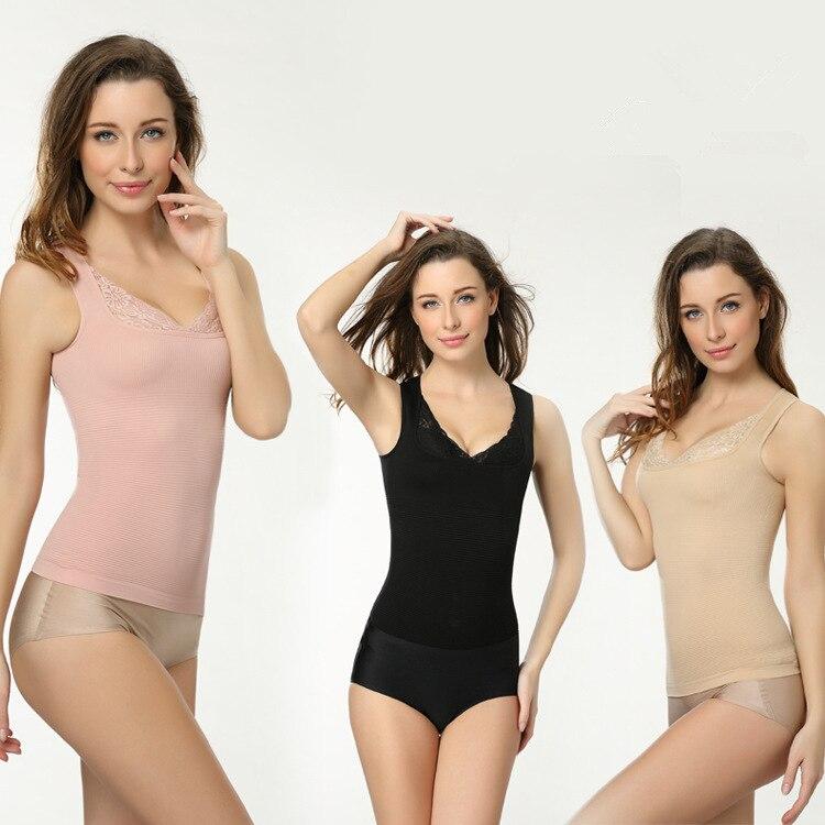Primavera e verão fino rendas Japonês corpo cintura fina abdômen apoio colete apertado sem mangas blusa