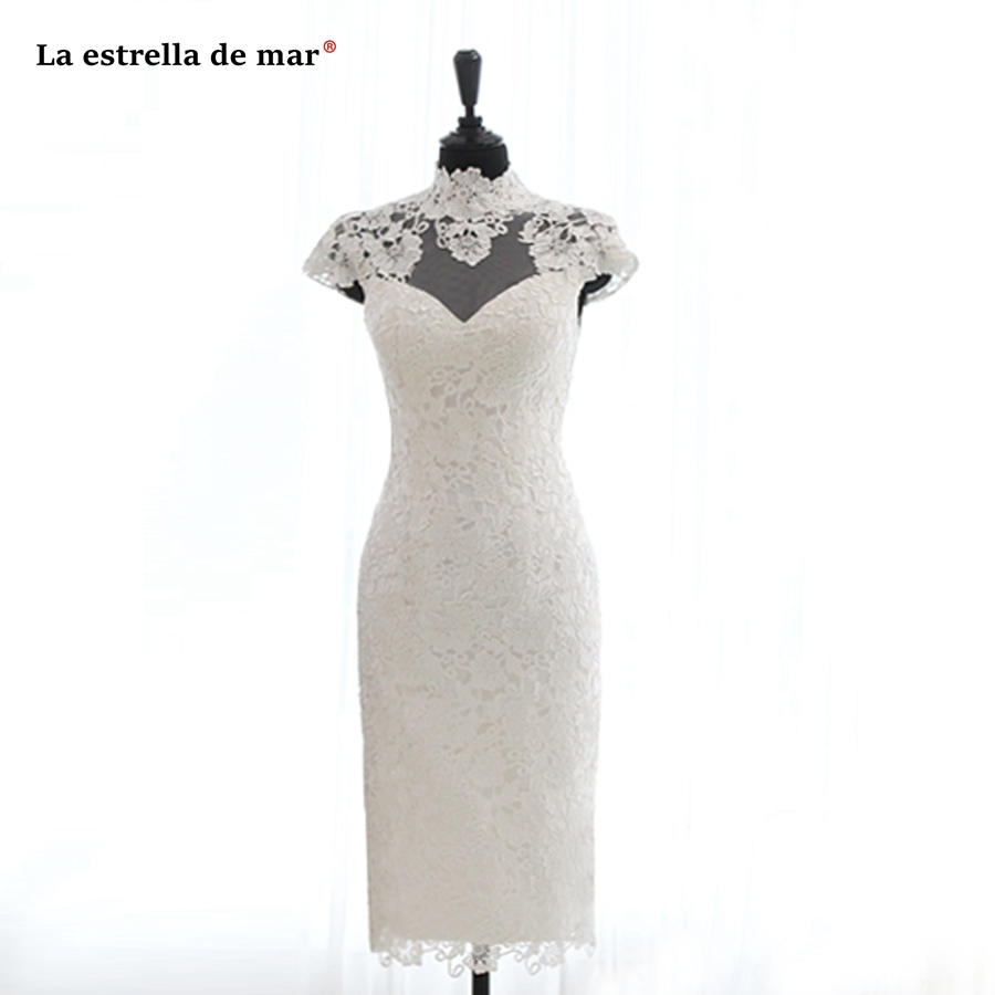 Robe De Cocktail Pour Mariage New High Neck Lace Cap Sleeve Ivory Sexy Mermaid Cocktail Dresses Tea Length Prom Party  Gown