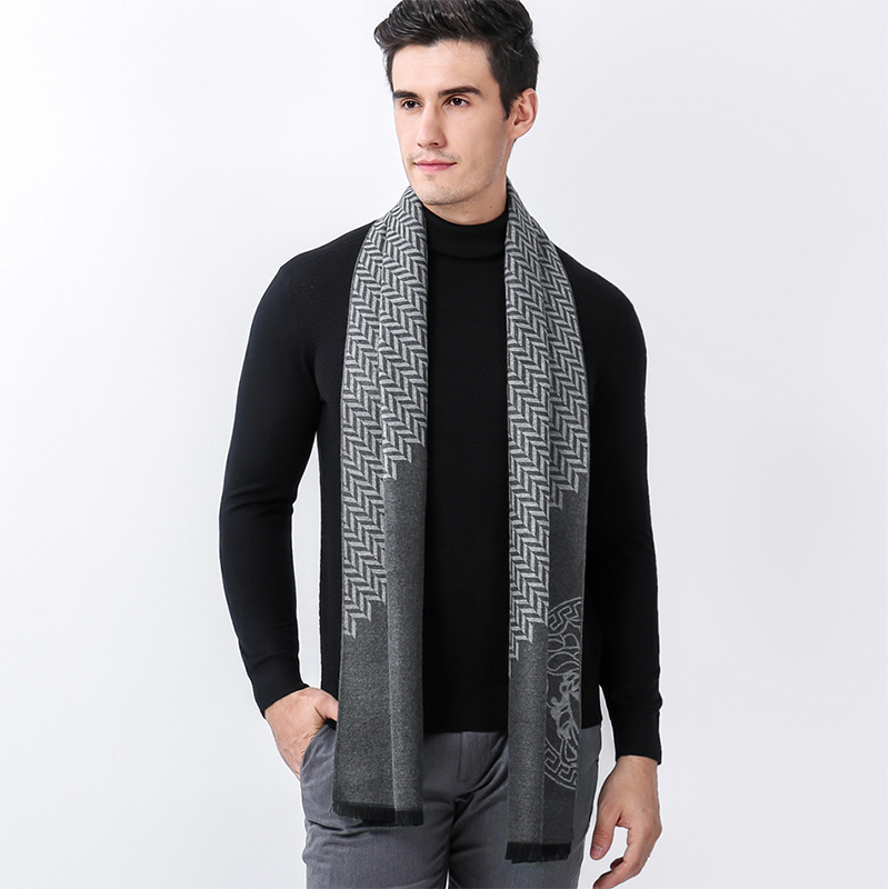 Mingjiebihuo Autumn winter new business casual Chinese style small lattice symbol mens scarf middle-aged cashmere warm collar