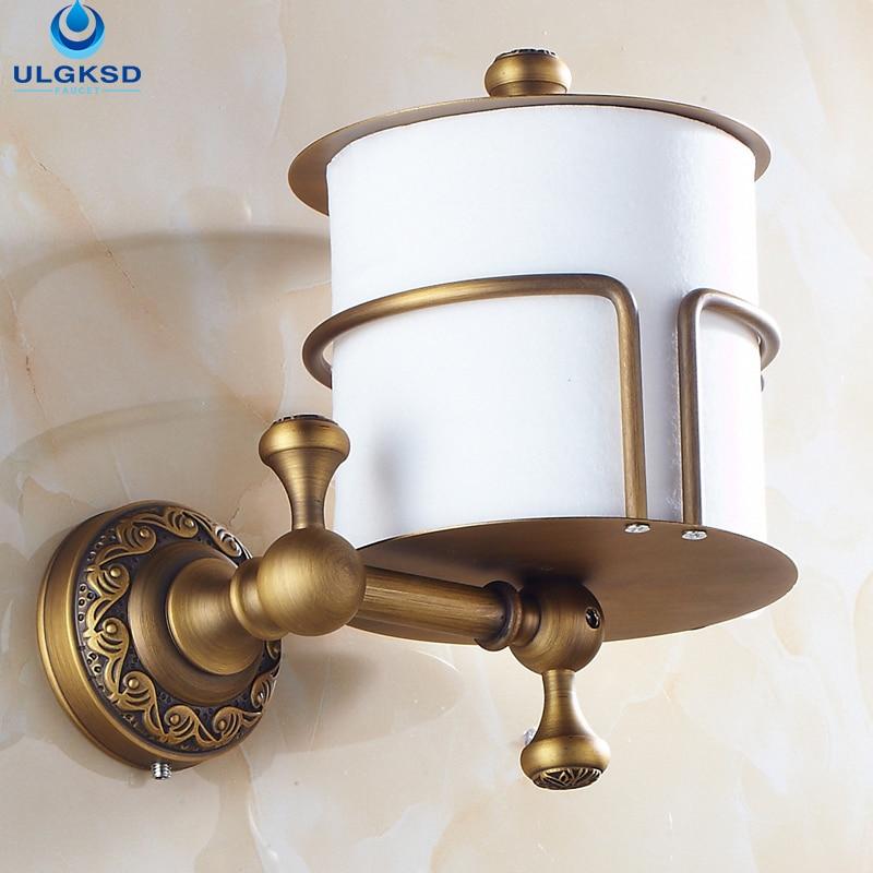 Ulgksd Modern Design Toliet Paper Holder Bathroom Accessory Antique Brass Artistic Paper Holder With Carved Pattern antique brass artistic bathroom toilet brush holder