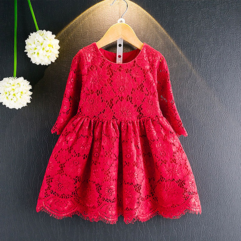 Kids Clothes Brand 2017 New Summer Autumn Girls Dresses Fashion Style Sleeves Lace Hollow Princess Dress Children Clothing