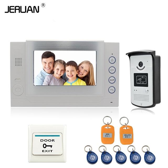"JERUAN 7"" TFT Video Door Phone  Intercom System Video Recording & photo taking monitor doorphone TF support Up to 32GB 708-C2V"