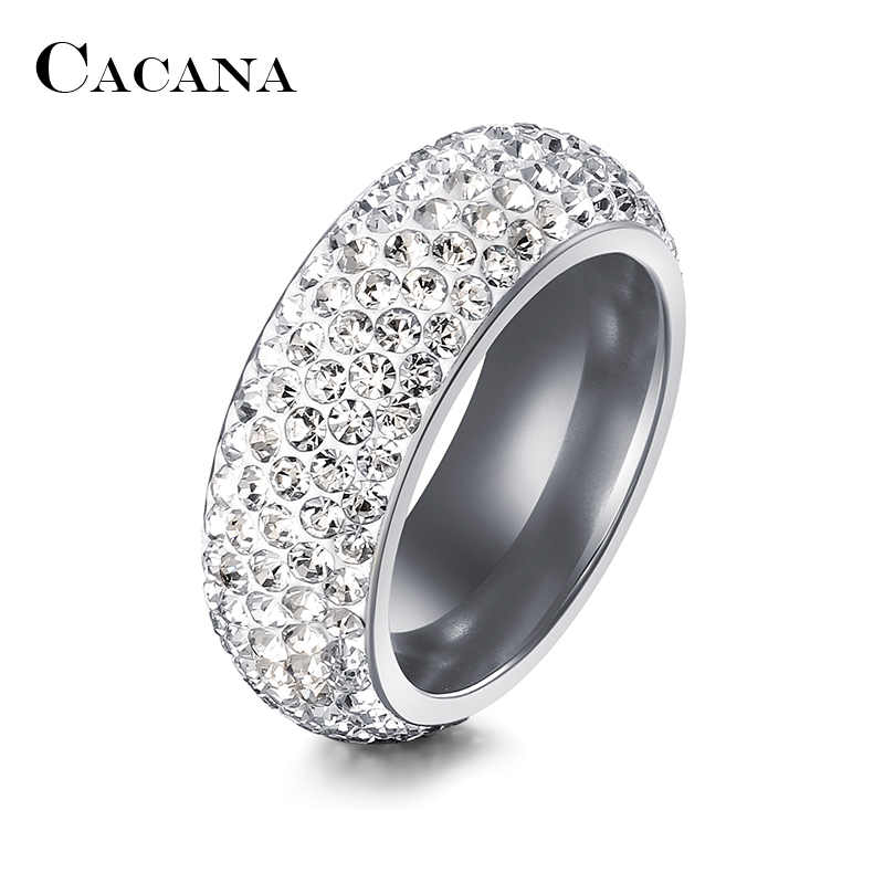 CACANA Stainless Steel Rings For Women Cubic Zirconia Wedding Ring Fashion Jewelry Wholesale NO.R192 193 3