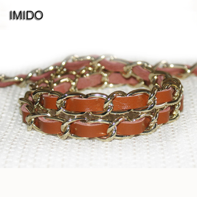 1f472094d070 IMIDO Gold Chain Strap for bags women Replacement Shoulder Straps Bag Belt  Real Leather Metal Accessory Handbag Designer STP016