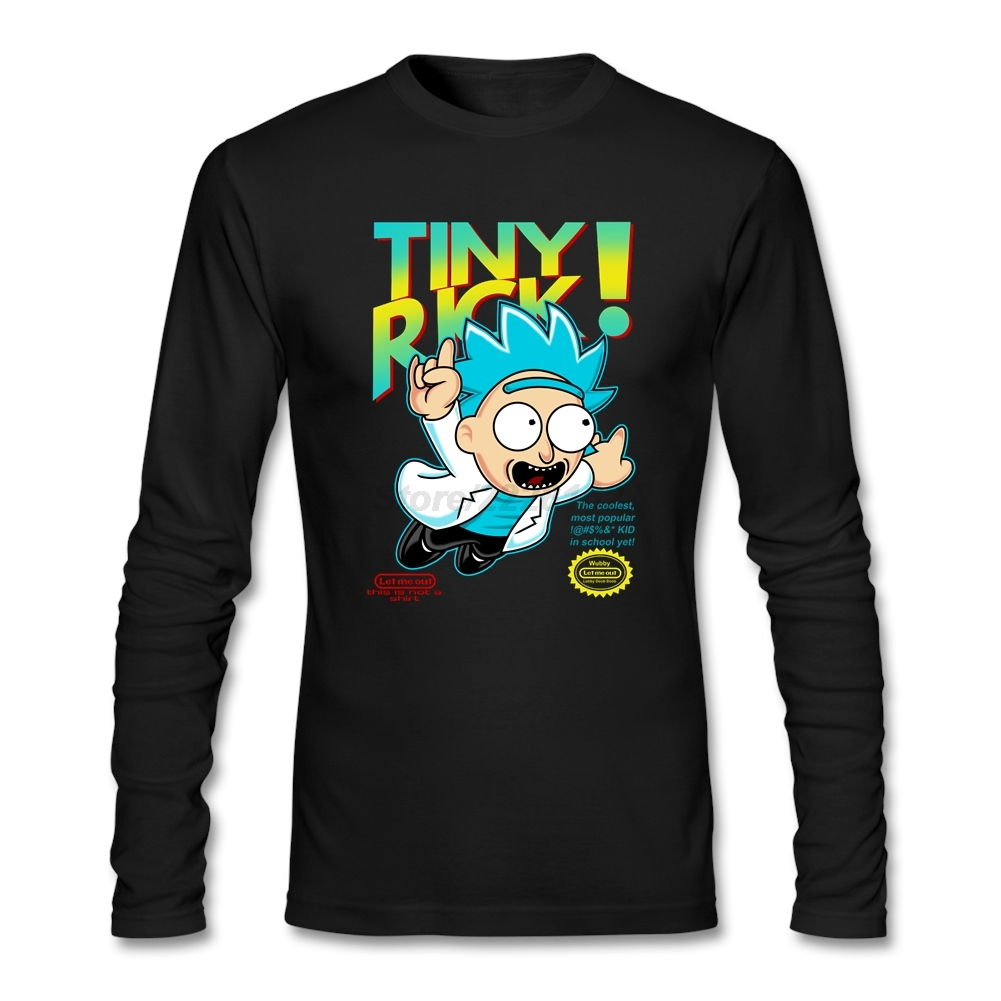 Lover T Shirts Men Let Me Out Long Sleeve Rick and Morty Quilt T Outfits Camiseta Tops - intl