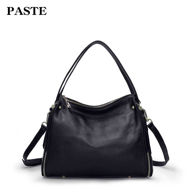 PASTE luxury brand design women casual tote bag genuine cow leather female shoulder messenger bag large capacity ladies handbag new arrival 2018 brand genuine leather women handbag soft leather fashion shoulder bag casual women bag cow skin messenger bag