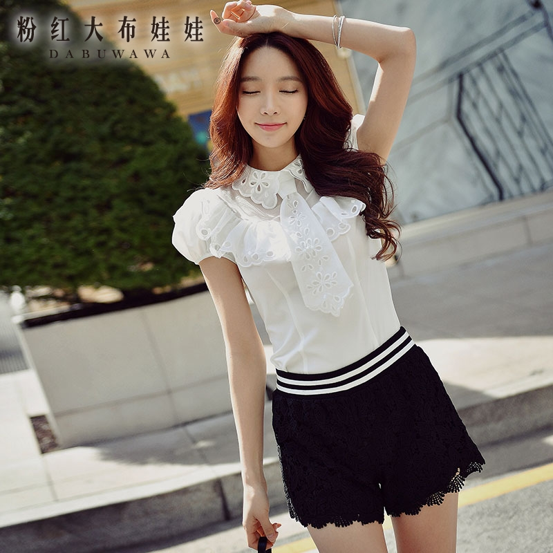 dabuwawa white font b shirt b font summer 2017 new ladies tie decoration embroidery collar short