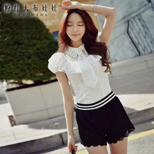 dabuwawa white shirt summer 2017 new ladies tie decoration embroidery collar short sleeved solid blouse women pink doll