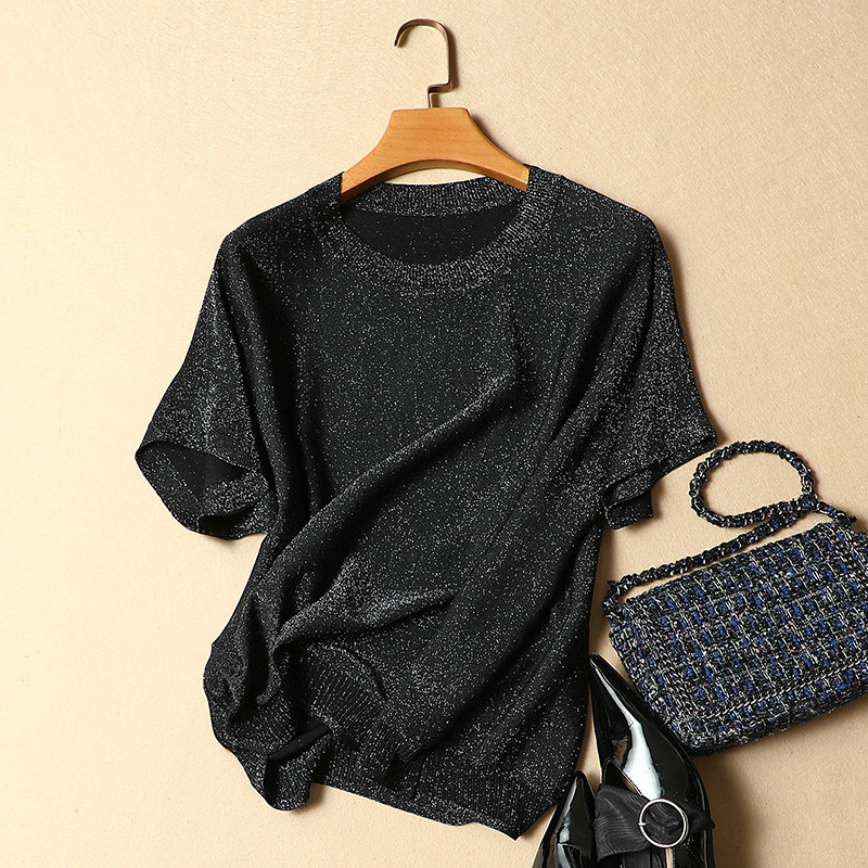 2019 summer new design women short sleeved t shirt silver silk knitted t shirt outwear tops tees