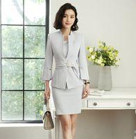 2018 Spring New Fashion Career Womens Two piece Sets Business A Suit Shirt Blazer + Skirt Elegant Temperament
