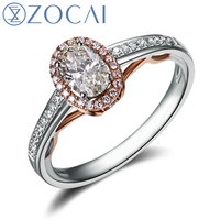 ZOCAI VINTAGE SIDESTONE 0 7 CT NATURAL D E SI OVAL CUT HALO MICROPave DIAMOND ENGAGEMENT