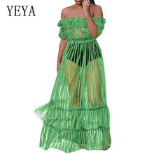 YEYA Sexy Off Shoulder Perspective Summer Loose Dress Women Hollow Out Party See-through Wrap Maxi Dresses Club Vestidos Robes