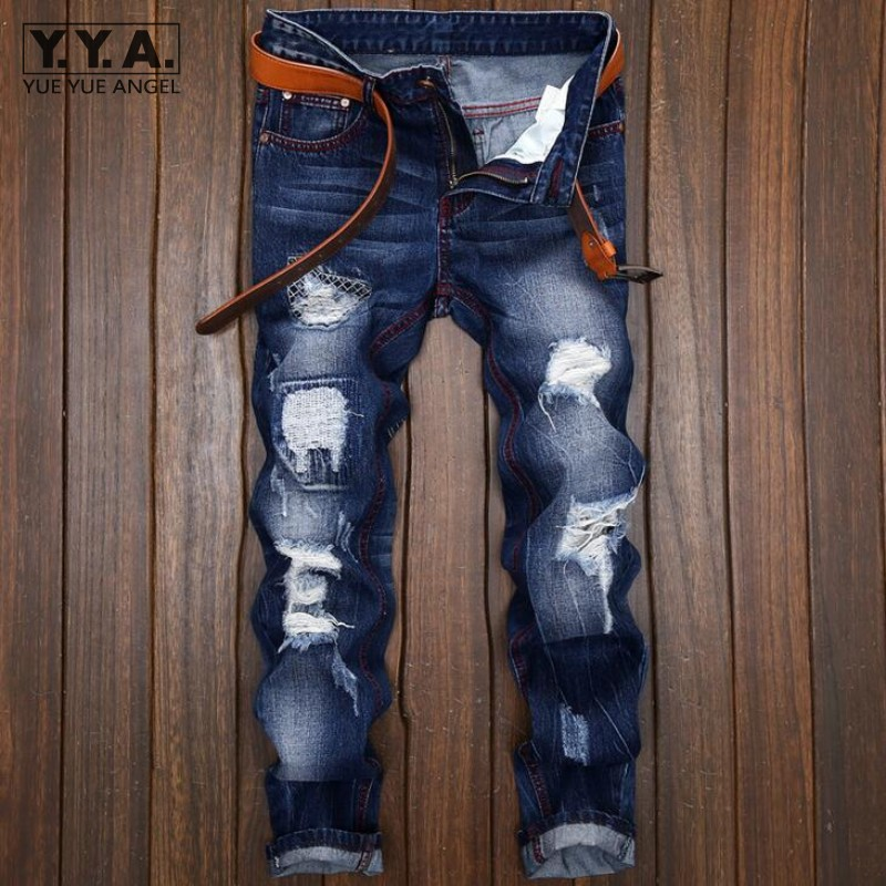 Personality Punk Mens Jeans Trousers Hole Ripped Denim Pants Back 2019 Fashion Embroidery Cowboy Retro Pantalones Free Shipping