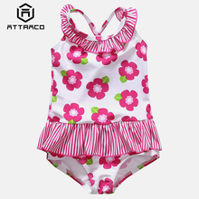 Attraco Baby Girls One Piece Swimsuits Flower Printed Swimwear Ruffled Kids Cute Bikini Beach Wear Childrens One-Piece Suits
