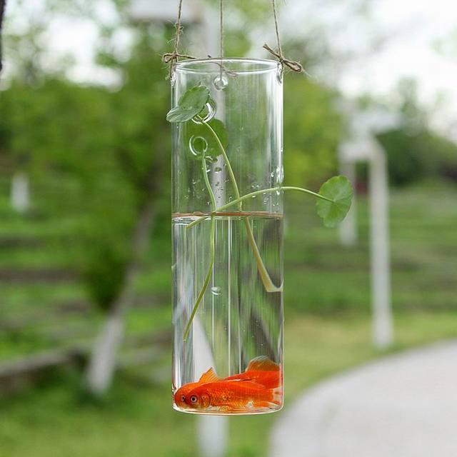 Hanging Glass Cylinder Vase Or Seated Flower Vase Glass terrarium Fish Tank Decor x2
