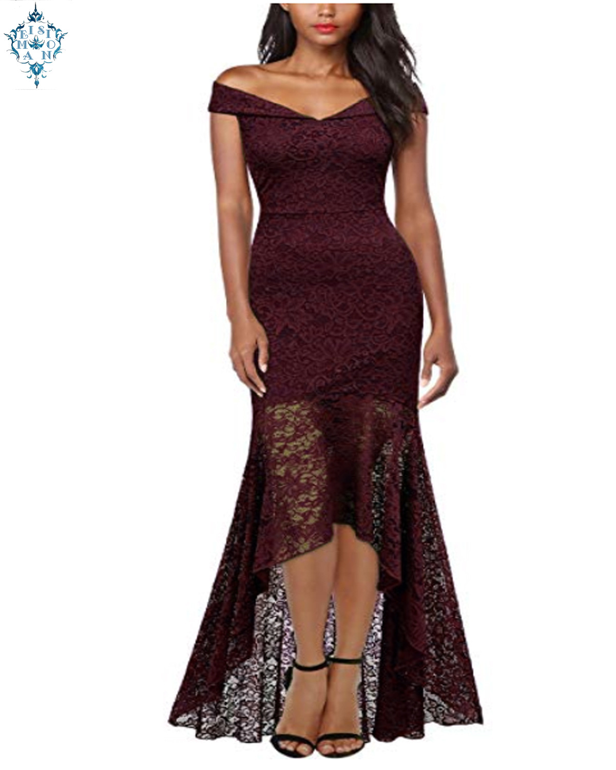 Ameision Fishtail lace evening Dresses long Boat neck Sleeveless Elegant party dress prom gown womens fashion Clothing