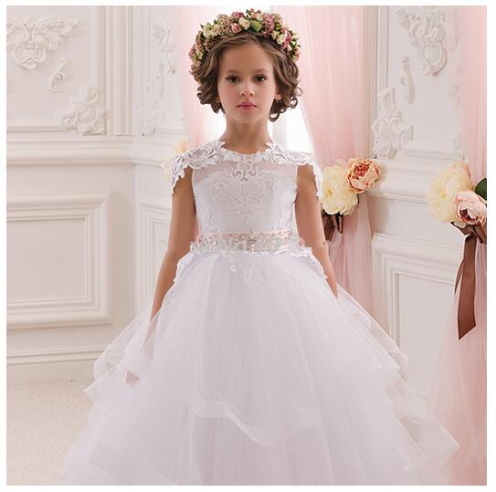 Girls Formal Dress 2017 Sleeveless Flower Girls Dresses Kids Lace Diamond Party Tiered Gauze Ball Gown Children's Wedding Dress custom make little girls party dresses one shoulder lace hand made flowers tiered organza tiered ball gown little girls dress