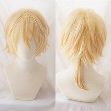Vocaloid Kagamine Len Korte Blonde Hittebestendige Haar Cosplay Kostuum Pruik + Track + Pruik Cap