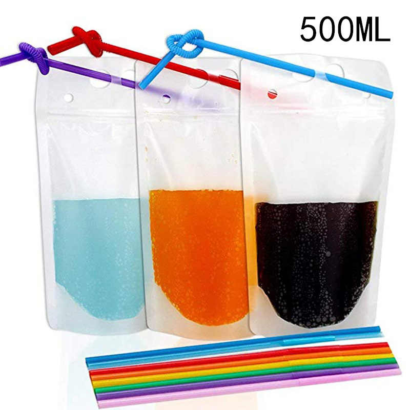 Transparent Self-sealed Plastic Beverage Bag DIY Drink Container Drinking Fruit Juice Food Storage Stand-up Plastic Pouches