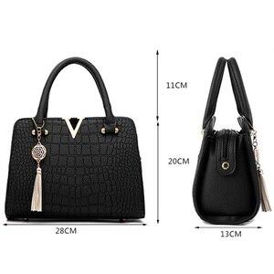 Image 5 - New Crocodile Pattern Women Bag Handbags Women Messenger Bags Crossbody Shoulder Bags Ladies Tassel Women Leather Handbags Hot