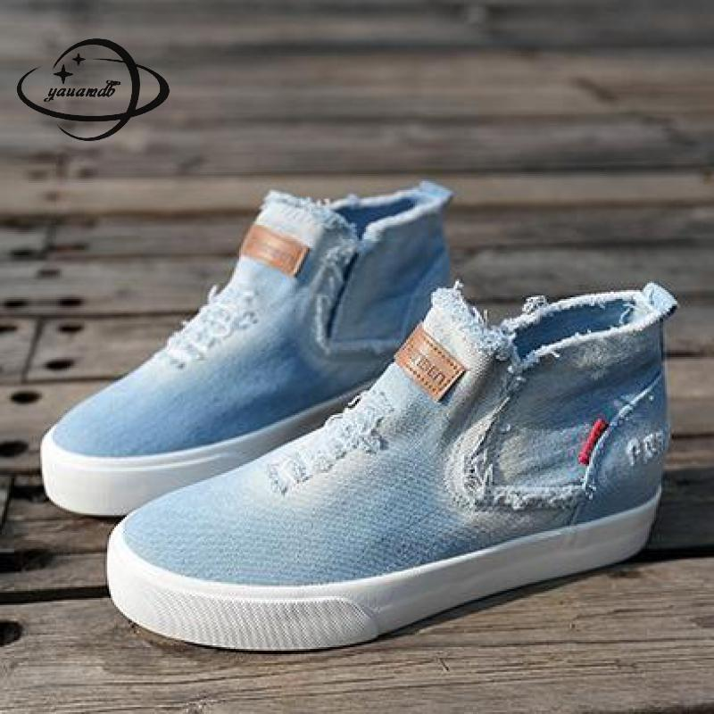Girls Autumn High-Top Round Toe Canvas Sneakers