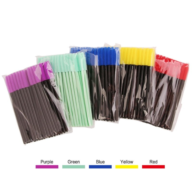 HUAMIANLI 50pcs Silicone Disposable Mascara Wands Eyelash Brushes Extention Makeup Tool High Quality Pro
