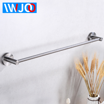 Towel Bar Single Stainless Steel Bathroom Towel Rack Hanging Holder Wall Mounted Robe Towel Rail Hanger Shelf Bathroom Hardware solid brass bathroom towel rack single bar carved holder antique brass bathroom towel holder wall mounted